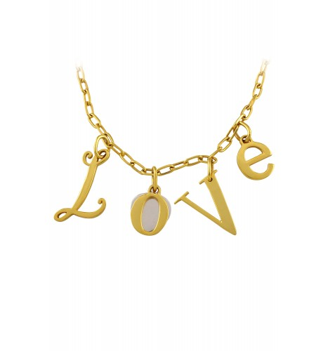 Dual Tone Love Charm Necklace