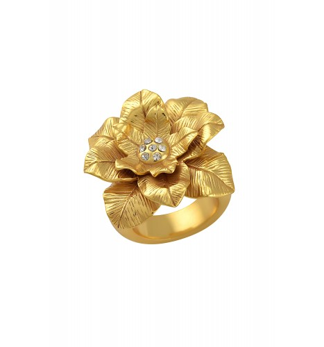 Gold Plated Texture Flower Zircon Ring