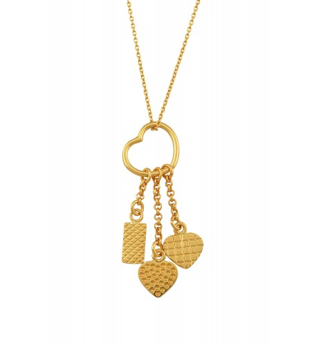 Gold Plated Heart Charm Drop Long Pendant