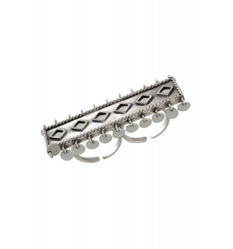 Silver Oxidised Rhomb Bar Charm Drop Ring