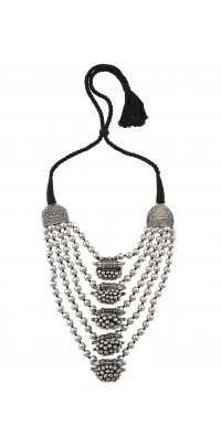 Silver Oxidised Multi Strand Ball Cluster Beaded Necklace