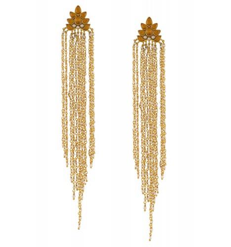Silver Gold Plated Citrine Pearl Lotus Tassel Earrings