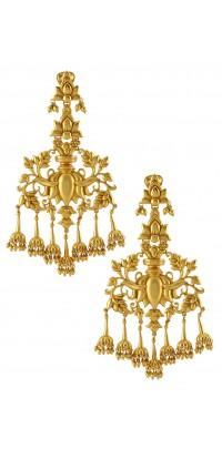 Silver Gold Plated Lotus Jhumki Rawa Drop Earrings