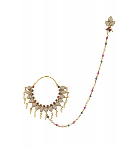 Silver Gold Plated Pink Blue Glass Enamelled Floral Pearl Drop Nose Ring