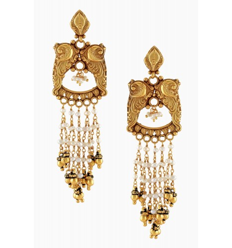 Silver Gold Plated Peacock Multi Pearl Strand Earrings