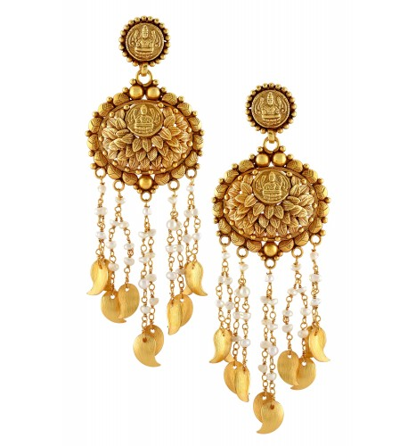 Silver Gold Plated Traditional Goddess Lakshmi Pearl Paisley Earrings