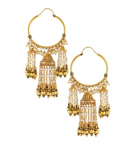 Silver Gold Plated Textured Jhumki Pearl Bead Hanging Earrings