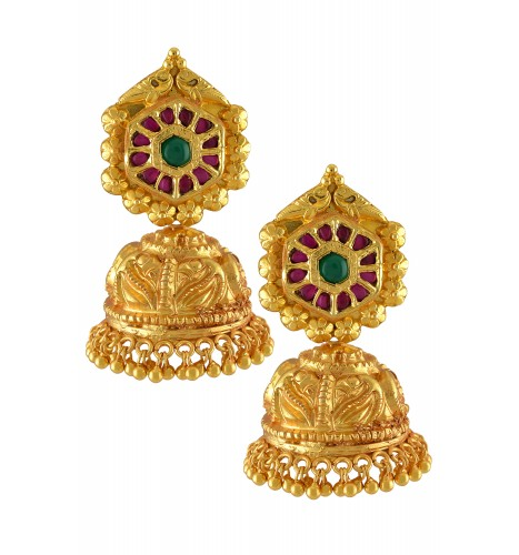 Silver Gold Plated Hexagon Glass Leafy Textured Jhumka