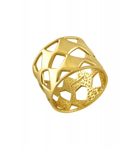 Gold Plated Abstract Jaali Ring