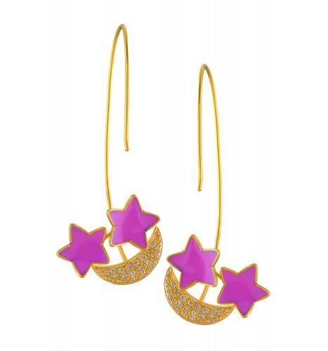 18kt Gold Pink Star Enameled Diamond Moon Earrings