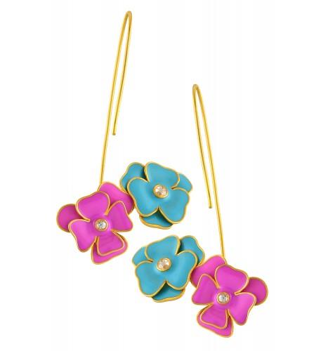18kt Gold Diamond Pink Blue Flower Enameled Earrings