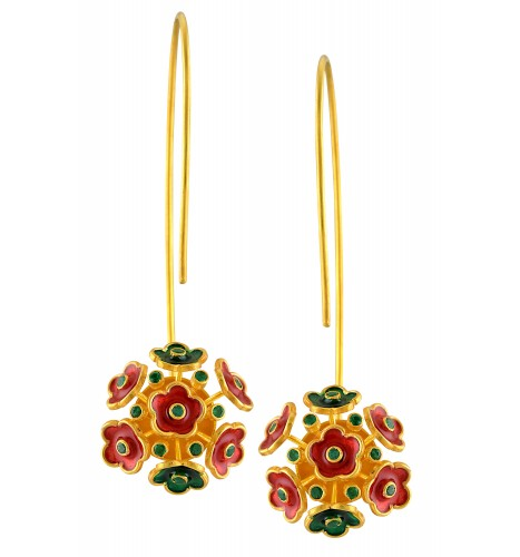 18kt Gold Red Green Flower Cluster Emerald Earrings