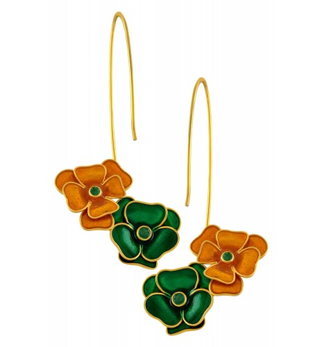 18kt Gold Enameled Flower Emerald Earrings