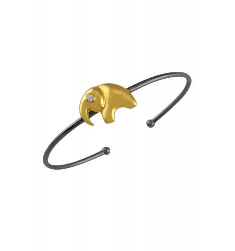 Silver Two Tone Elephant Zircon Bracelet