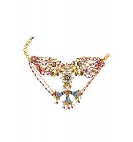 Silver Gold Plated Enamelled Multi Tassel Floral Bracelet