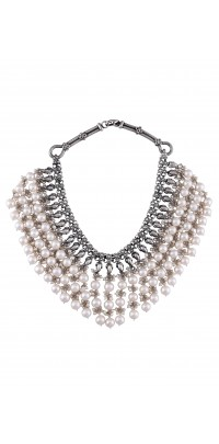 Silver Oxidised Pearl Bead Cluster Necklace