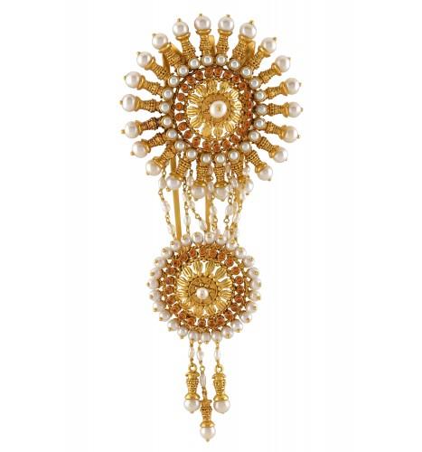 Silver Gold Plated Chakra Pearl Drop Citrine Juda Pin