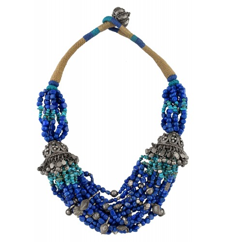 Silver Multi Strand Jhumka Lapis Beaded Necklace