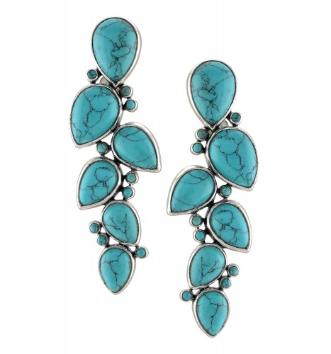 Silver Multi Pear Turquoise Earstuds