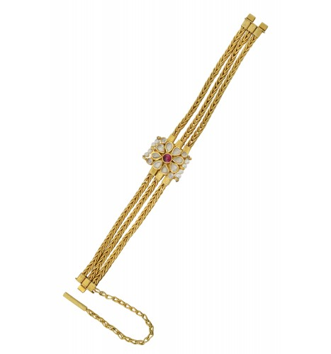 Silver Gold Plated Red Floral Crystal Pearl Interlinked Bracelet