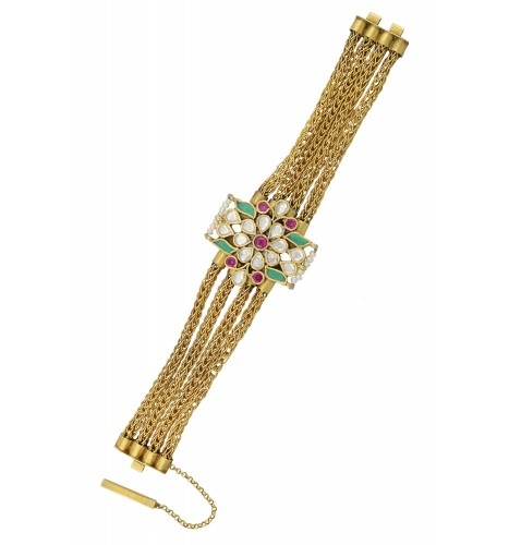 Silver Gold Plated Crystal Pearl Leafy Floral Interlinked Bracelet