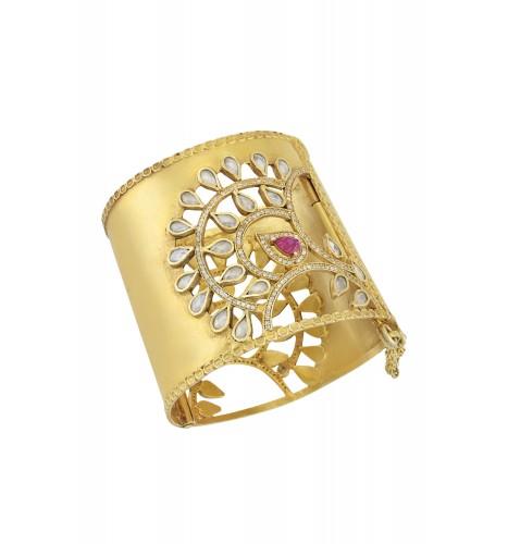 Silver Gold Plated Zircon Crystal Fan Motif Textured Cuff