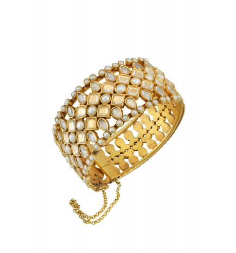 Silver Gold Plated Crystal Pearl Studded Pear Rhomb Bangle