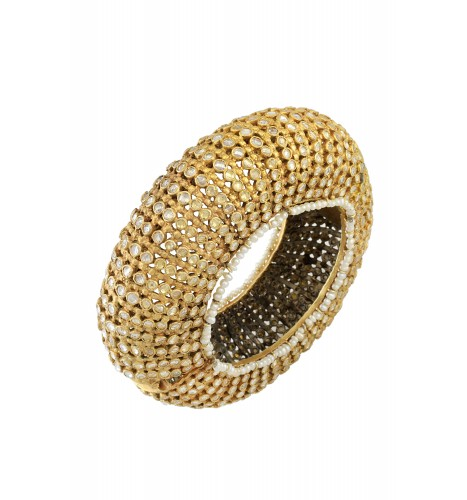 Silver Gold Plated Multi Crystal Pearl Dome Bangle