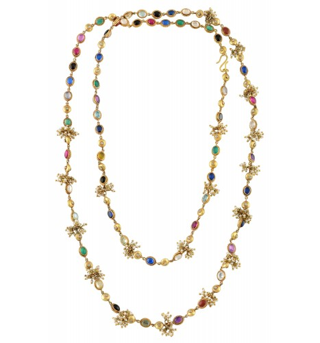 Silver Gold Plated Multi Colored Crystal Pearl Necklace