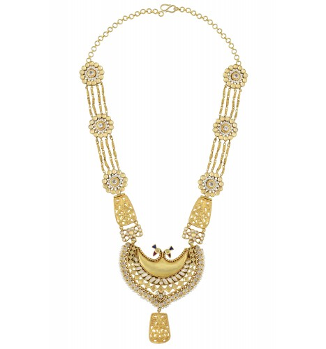 Silver Gold Plated Interlinked Flower Peacock Jaali Pearl Necklace