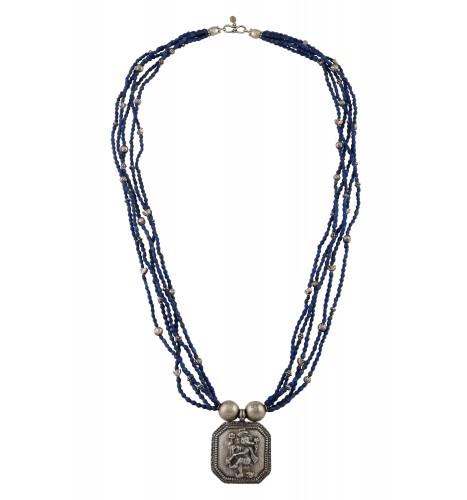 Silver Oxidised Dancing Ganesha Lapis Multi Strand Necklace