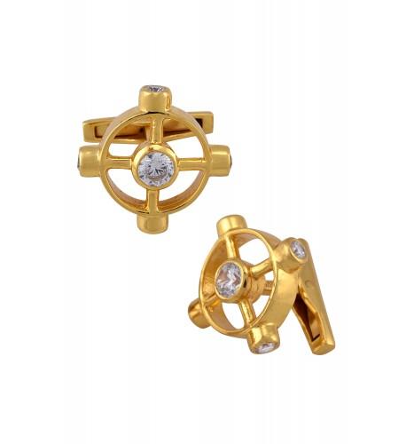 Silver Gold Plated Zircon Wheel Cufflinks