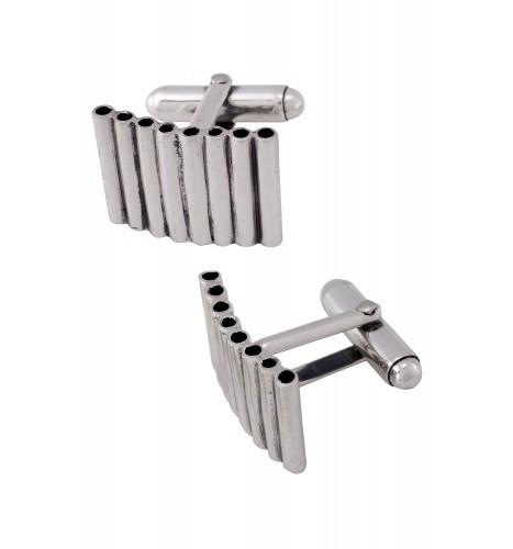 Silver Multi Tube Bar Cufflinks