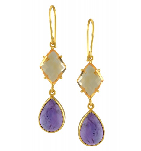 Silver Gold Plated Amethyst Citrine Drop Earrings