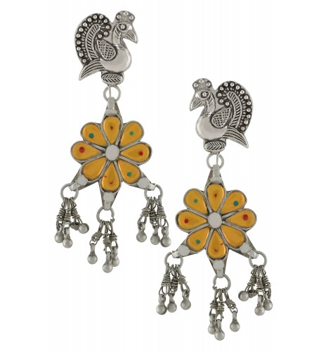 Silver Oxidised Mayura Flower Glass Earrings
