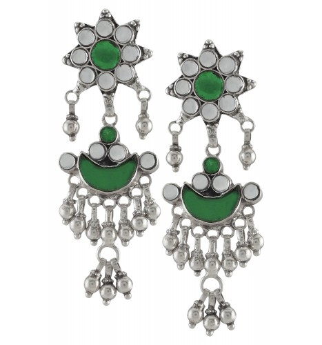 Silver Floral Green Glass Ball Droplet Moon Earrings