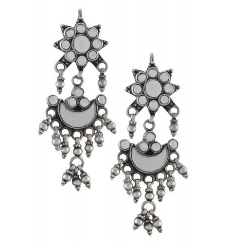 Silver Glass Floral Moon Bead Drop Earrings