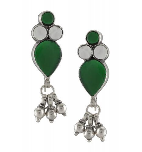 Silver Green Glass Pear Round Earrings
