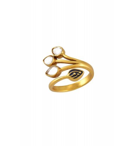 Silver Gold Plated Crystal Enamelled Pear Ring