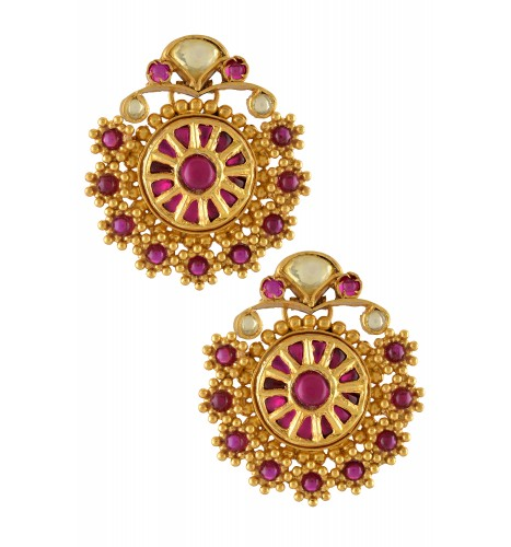 Silver Gold Plated Pink Crystal Rawa Floral Round Earrings
