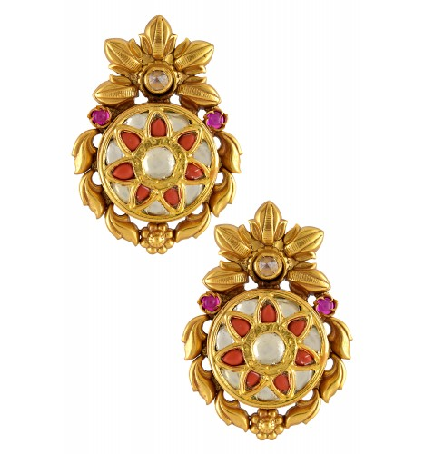 Silver Gold Plated Coral Flower Round Earrings