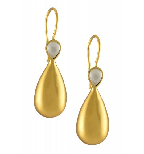 Silver Gold Plated Pear Crystal Earrings