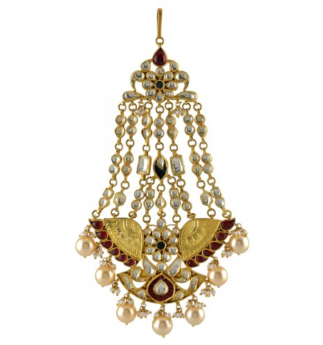 Silver Gold Plated Textured Flower Pearl Drop Interlinked Jhumar