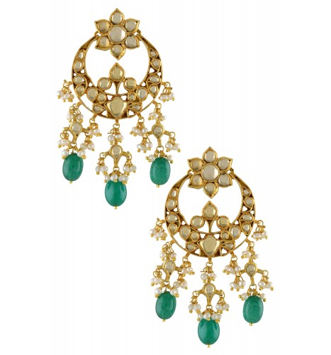 Silver Gold Plated Green Glass Floral Pearl Chaand Earrings