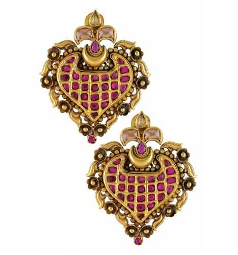 Silver Gold Plated Paan Leaf Crystal Floral Earrings
