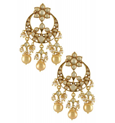 Silver Gold Plated Floral Crescent Pearl Droplets Earrings