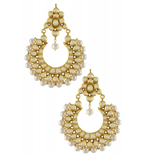 Silver Gold Plated Multi Crystal Pearl Chaandbali Earrings