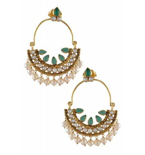Silver Gold Plated Pearl Drop Green Textured Earrings