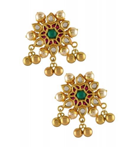 Silver Gold Plated Crystal Studded Star Pearl Earrings