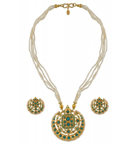 Silver Gold Plated Turquoise Floral Moon Necklace Set